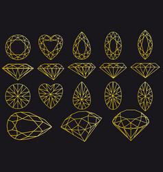 diamond cut gold line art set vector image