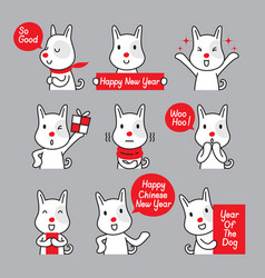 Dog emoticons icons set year of the dog vector