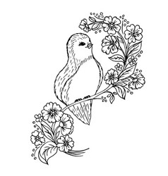 doodle cute bird on a branch with flowers vector image