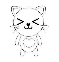 Dotted shape happy cat cute feline animal vector
