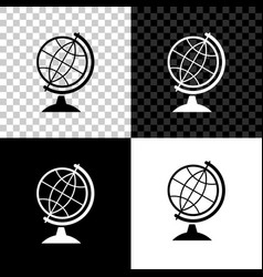 earth globe icon isolated on black white and vector image