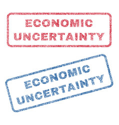 Economic uncertainty textile stamps vector