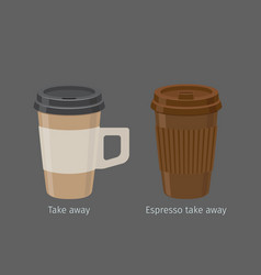 Espresso in paper cups with lid and handle vector