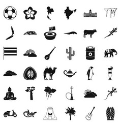 Exotic nature icons set simple style vector