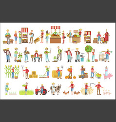 farmers and their products set vector image