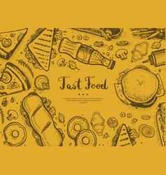 Fast food retro restaurant menu cover vector
