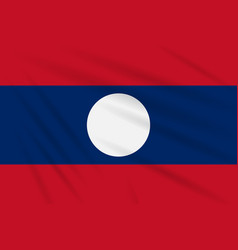 Flag laos swaying in the wind realistic vector