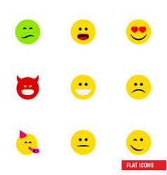 flat icon face set of party time emoticon love vector image