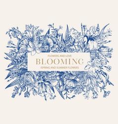 floral frame blooming blue vector image