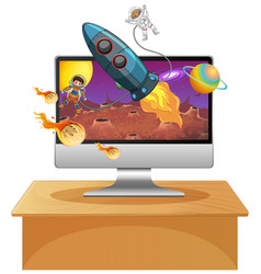 Galaxy background on computer screen vector