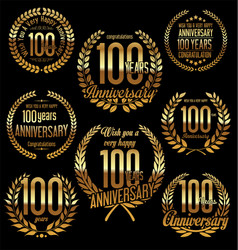 golden laurel wreath anniversary collection 100 vector image