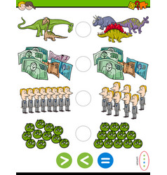 greater less or equal educational task vector image