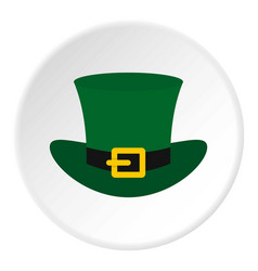Green top hat with buckle icon circle vector