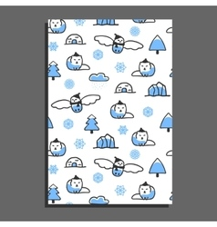 Greeting card template with cute cartoon snowy owl vector image