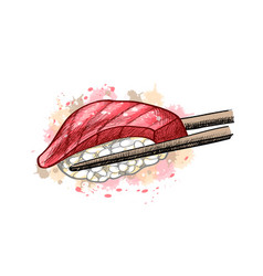 Gunkan sushi with tuna from a splash watercolor vector