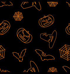 halloween black background with orange witch hat vector image
