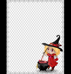 halloween template of cute baby witch girll in vector image
