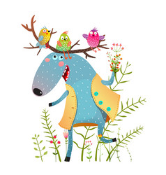 Happy moose and birds with flowers vector