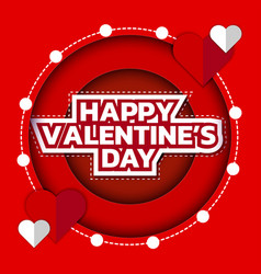 happy valentines day greeting card 3d paper cut vector image