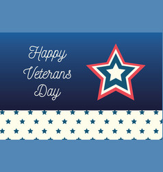 Happy veterans day lettering star and starry vector