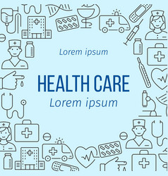 health care poster with line icons vector image