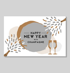 Holiday greeting postcard with champagne glasses vector