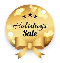 holiday sale golden label with caption lettering vector image