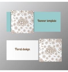 Horizontal banner template ornate flower vector