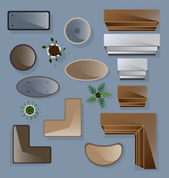 Icons set of interior top view vector