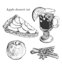 Ink apple dessert set with apples cinnamon vector
