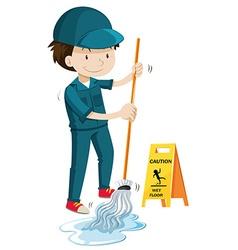 Janitor mopping wet floor vector