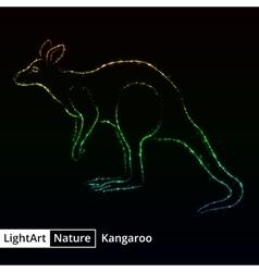 Kangaroo silhouette of lights on black background vector