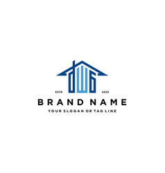 Letter dwg home roof logo design and business card vector