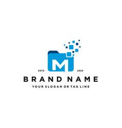 Letter m file folder logo design vector