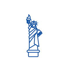 liberty statue new york line icon concept vector image