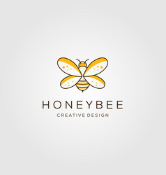 Line art honey bee logo design vector