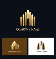 Line gold building business logo vector