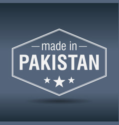 made in pakistan hexagonal white vintage label vector image