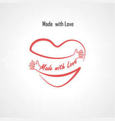 Made with love typographical design elements vector