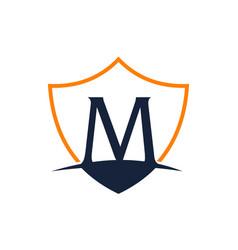 Modern shield letter m vector