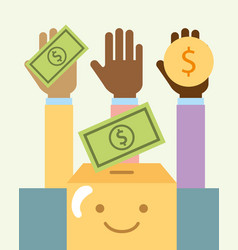 Multiethnic hands with money and cartoon box vector