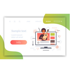 music blogger playing guitar live streaming vector image