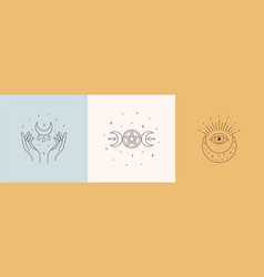 mystic boho logo design elements with moon hands vector image