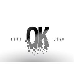 Ok o k pixel letter logo with digital shattered vector