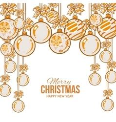Orange Christmas balls with ribbon and bows vector