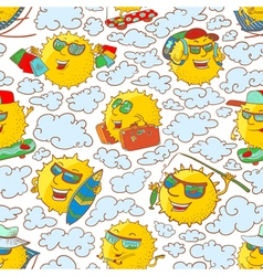 Pattern with sun characters in summer activity vector