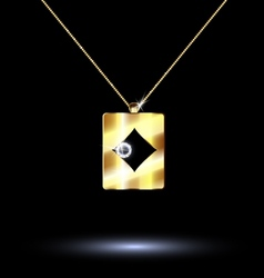 Pendant card suit diamonds vector