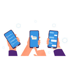 people chat hands hold smartphones digital vector image