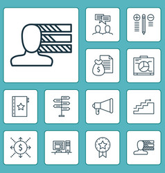 project icons set with award decision making vector image