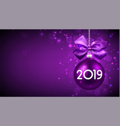 Purple 2019 new year background with christmas vector